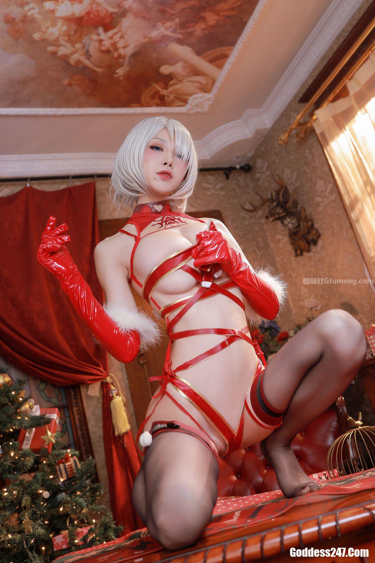 水淼Aqua, 圣诞2B, Shui Miao Aqua, Coser@水淼Aqua Vol.075 圣诞2B 内衣+丝带